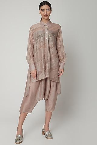 Grey Panelled Shirt With Stripes by Urvashi Kaur
