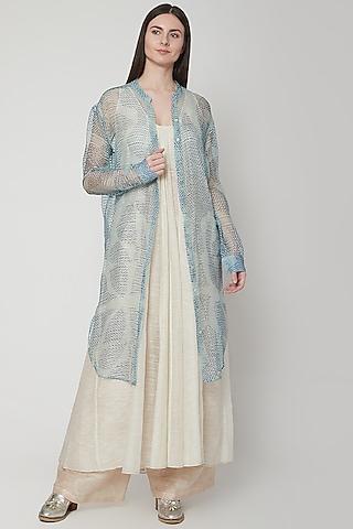 Sky Blue Shibori Shirt Dress by Urvashi Kaur