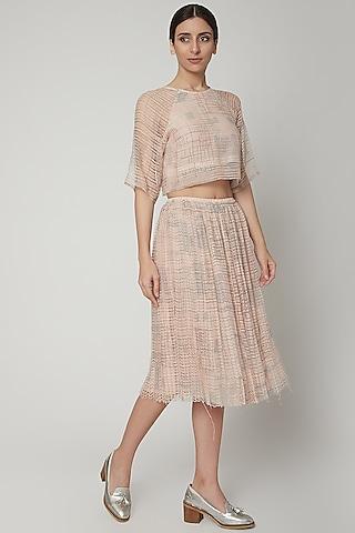 Blush Pink Block Printed Skirt by Urvashi Kaur
