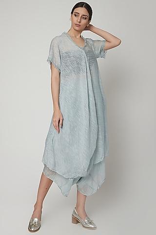 Sky Blue Asymmetric Dress With Stripes by Urvashi Kaur