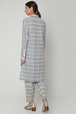 Blue Handwoven Dress With Stripes by Urvashi Kaur