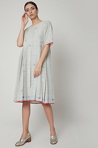 Sky Blue Handwoven Pleated Dress by Urvashi Kaur