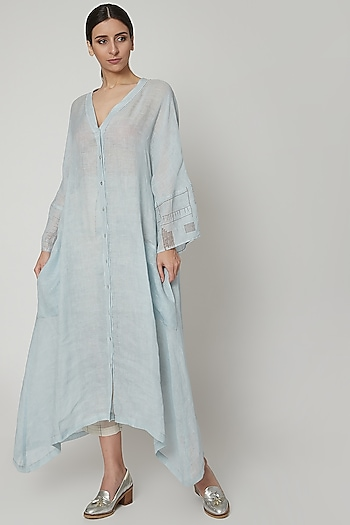 Sky Blue Block Printed Oversized Dress by Urvashi Kaur
