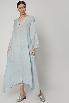Sky Blue Block Printed Oversized Dress by Urvashi Kaur
