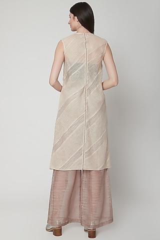 Blush Pink Panelled Dress With Stripes by Urvashi Kaur