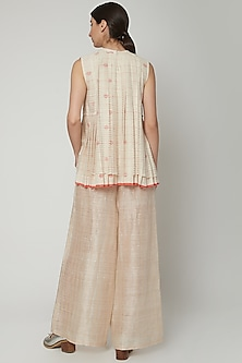 White Handwoven Layered Top With Pleats by Urvashi Kaur