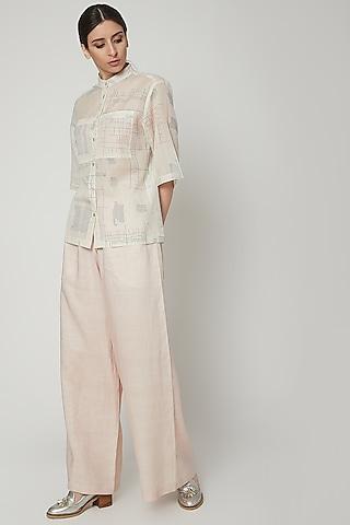 White Slouchy Linen Pants by Urvashi Kaur
