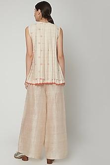 Blush Pink Pants With Metallic Yarns by Urvashi Kaur