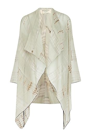 Grey Tie-Dye Printed Sheer Cape by Urvashi Kaur