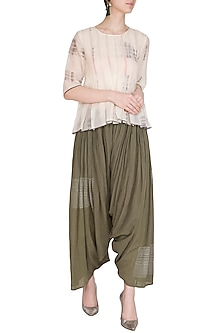 Brown Block Printed Salwar Pants by Urvashi Kaur