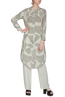 Sage Green Shibori Printed Tunic by Urvashi Kaur