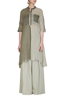Sage Green Panelled Tunic by Urvashi Kaur