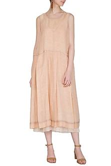 Salmon Pink Block Printed Dress by Urvashi Kaur