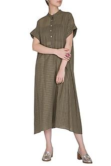 Brown Checkered & Striped Dress by Urvashi Kaur