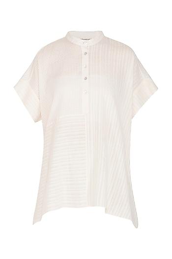 Ecru Checkered & Striped Cotton Top by Urvashi Kaur