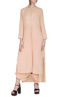 Salmon Pink Printed Sheer Tunic by Urvashi Kaur