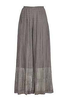 Grey Block Printed Palazzo Pants by Urvashi Kaur