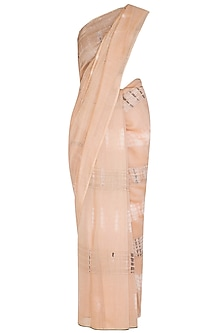 Salmon Pink Tie-Dye Printed Saree by Urvashi Kaur