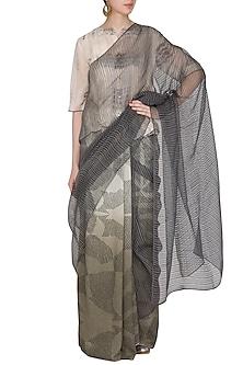 Ecru Printed Ombre & Printed Saree by Urvashi Kaur
