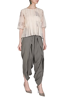 Grey Organic Cotton Dhoti Pants by Urvashi Kaur