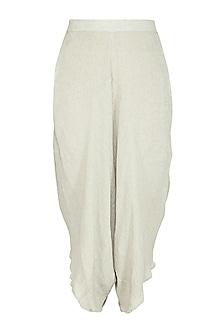 Sage Green Viscose Cotton Pants by Urvashi Kaur