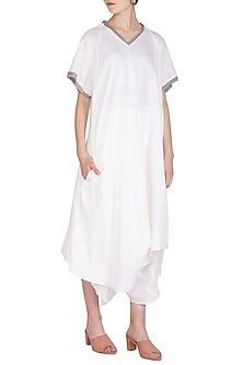 White Crushed Cowl Dress by Urvashi Kaur