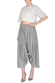 Grey Organic Cotton Salwar Pants by Urvashi Kaur