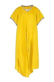 Yellow Crushed Cowl Dress by Urvashi Kaur