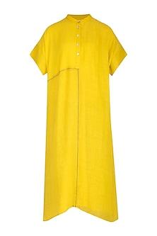 Yellow Checkered & Striped Tunic by Urvashi Kaur