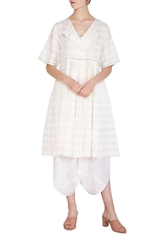 White Pleated Peplum Dress by Urvashi Kaur