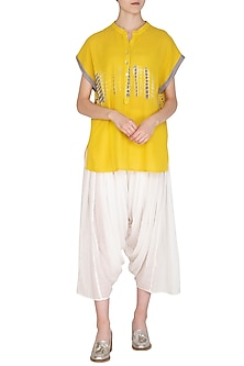 White Organic Cotton Salwar Pants by Urvashi Kaur