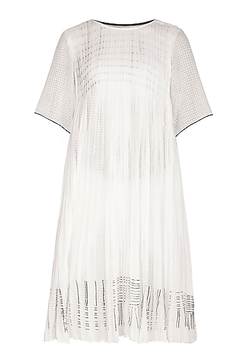 White Block Printed Dress by Urvashi Kaur