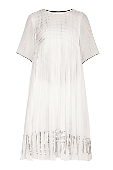 White Block Printed Dress by Urvashi Kaur