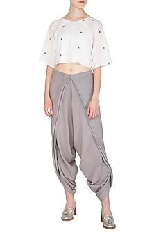 Grey Organic Cotton Dhoti Pants by Urvashi Kaur