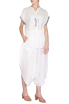 White Organic Cotton Dhoti Pants by Urvashi Kaur