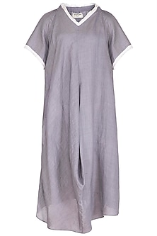 Grey Crushed Cowl Dress by Urvashi Kaur