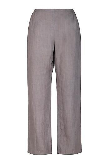 Grey Organic Cotton Pants by Urvashi Kaur