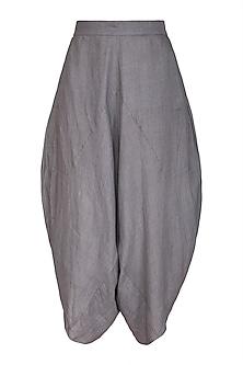 Grey Cotton Dhoti Pants by Urvashi Kaur