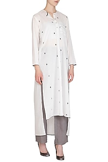 White Dotted Tunic by Urvashi Kaur