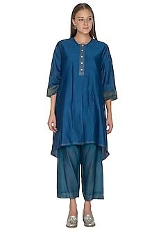 Blue Embellished Oversized Tunic by Urvashi Kaur