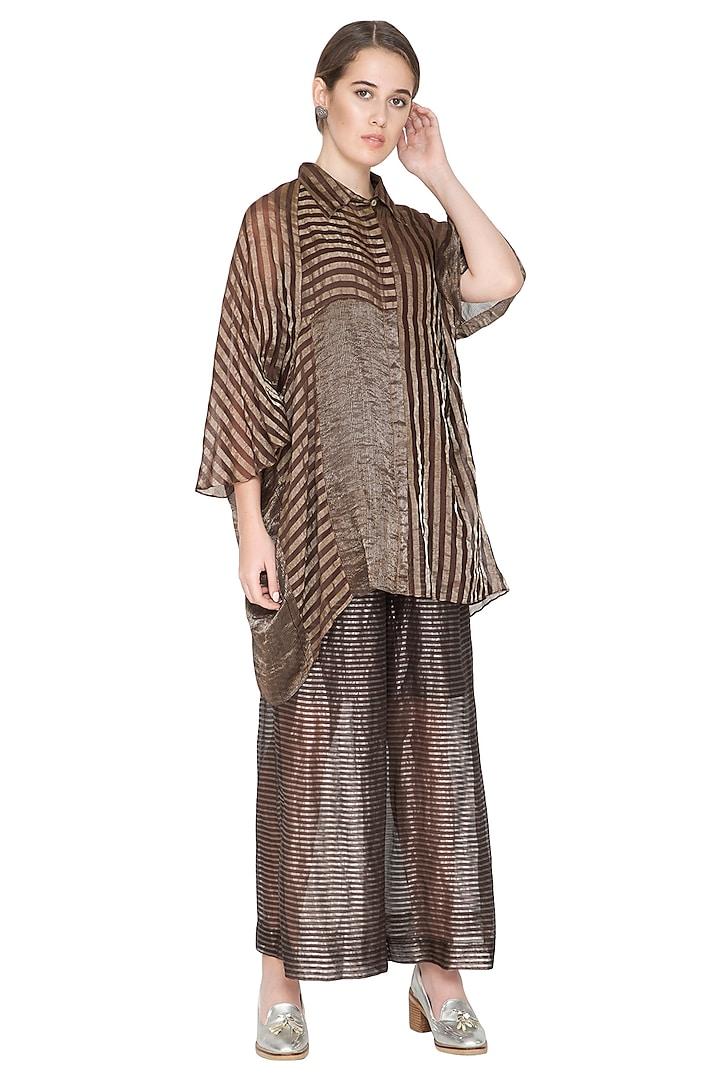 Brown Striped Woven Shirt by Urvashi Kaur