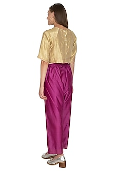 Golden Tissue Silk Woven Top by Urvashi Kaur