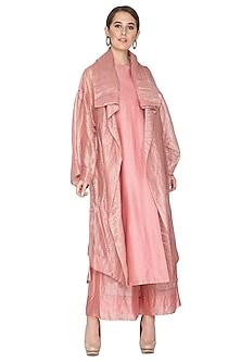 Pink Zari Embellished Shrug Jacket by Urvashi Kaur