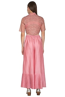 Pink Chanderi Silk Pleated Pants by Urvashi Kaur