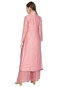 Pink Tissue Zari Embellished Jacket by Urvashi Kaur