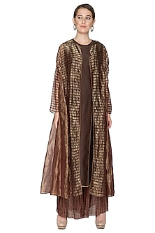 Chocolate Brown Zari Striped Shrug Jacket by Urvashi Kaur