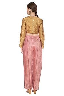 Pink Striped Pleated Palazzo Pants by Urvashi Kaur