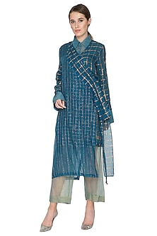 Blue Checkered Overlay Jacket by Urvashi Kaur