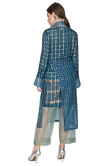 Blue Checkered Overlay Jacket by Urvashi Kaur