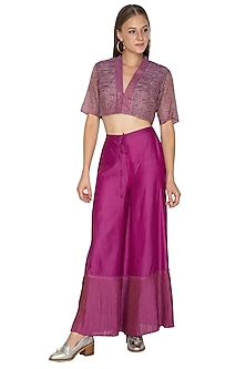 Fuchsia Pleated Palazzo Pants by Urvashi Kaur